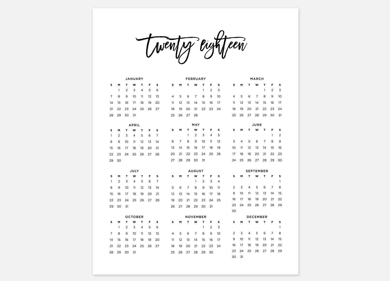 2018 calendar simple calendar 2018 year calendar 2018 etsy