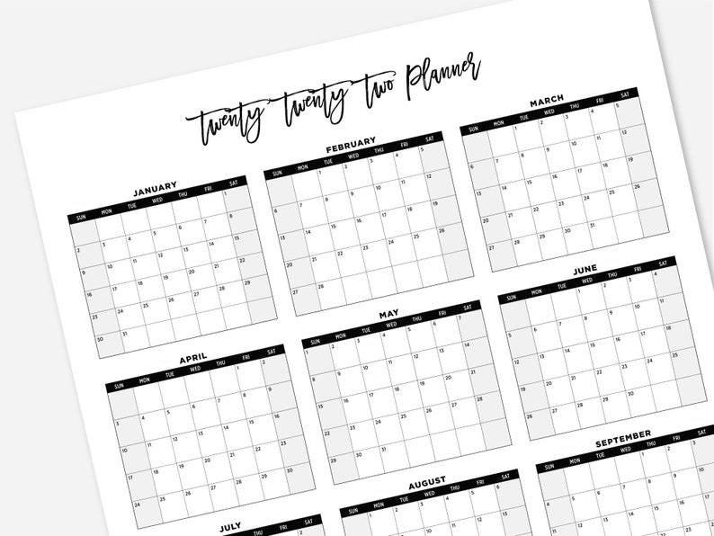 2022 Printable Large Calendar 2022 Simple Wall Calendar ...
