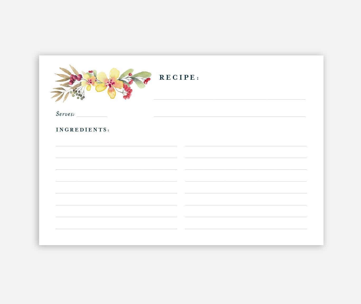 Printable Recipe Card 4x6 Recipe Card Recipe Card Template