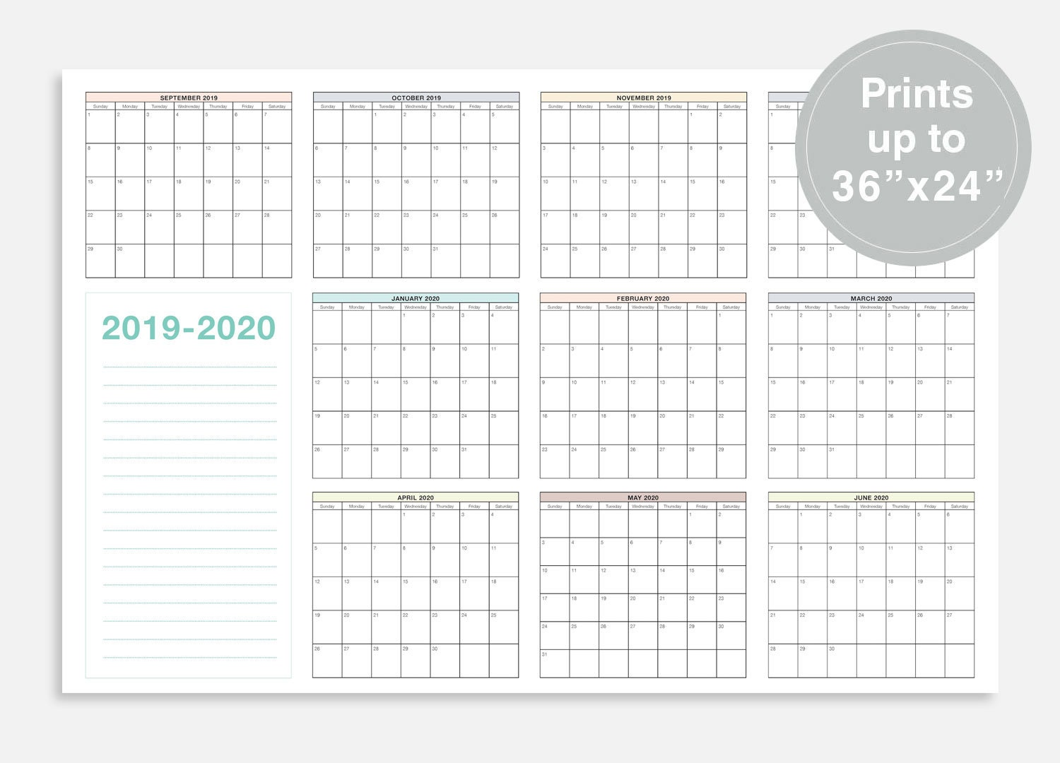 2019 2020 School Calendar September 2019 June 2020 School Etsy
