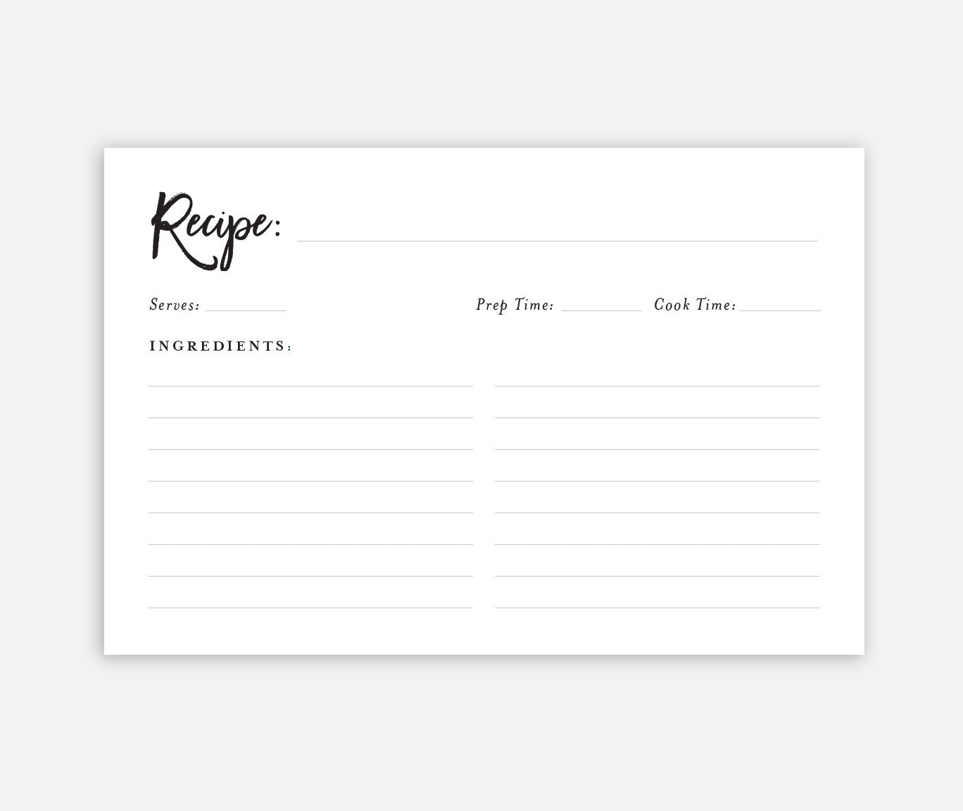 It's just a photo of Gargantuan Printable Recipe Card