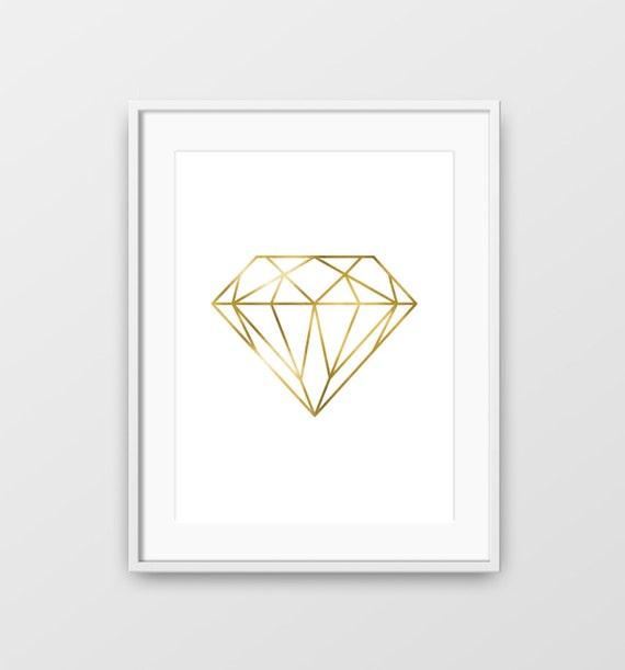 Diamond Diamond Wall Art Gold Diamond Minimalist Diamond | Etsy