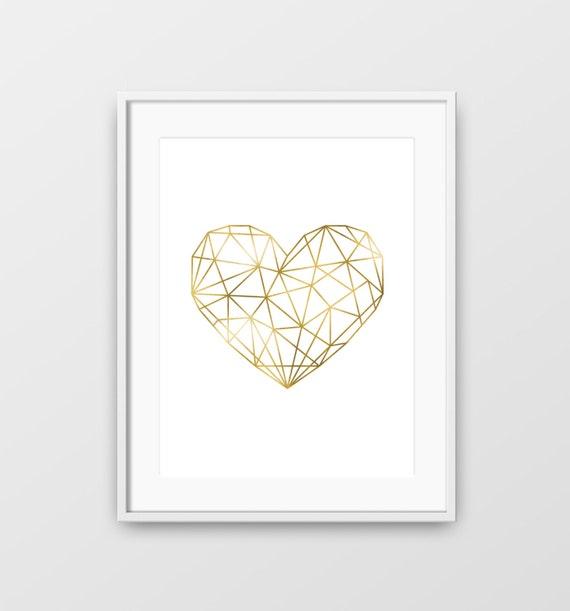 Geometrische Herz minimalistische Grafik Herz-Print Herz | Etsy
