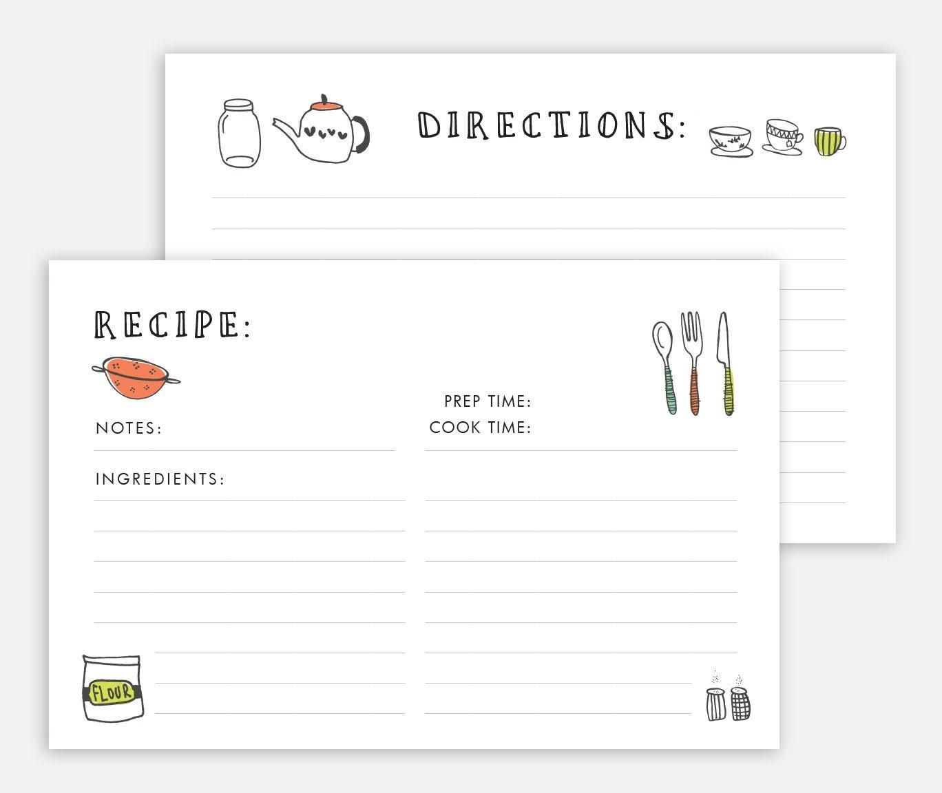 Recipe Card Printable Recipe Card Recipe Card Template Etsy