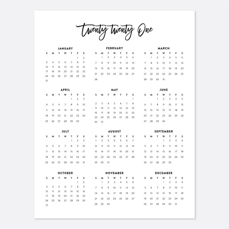 2021 Desk Calendar Printable Calendar 2021 Calendar Year ...