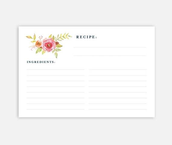 X Recipe Card Recipe Cards Recipe Card Template Floral Recipe - 4x6 recipe card template
