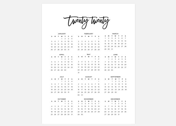 2020 calendar simple calendar 2020 year calendar 2020 etsy