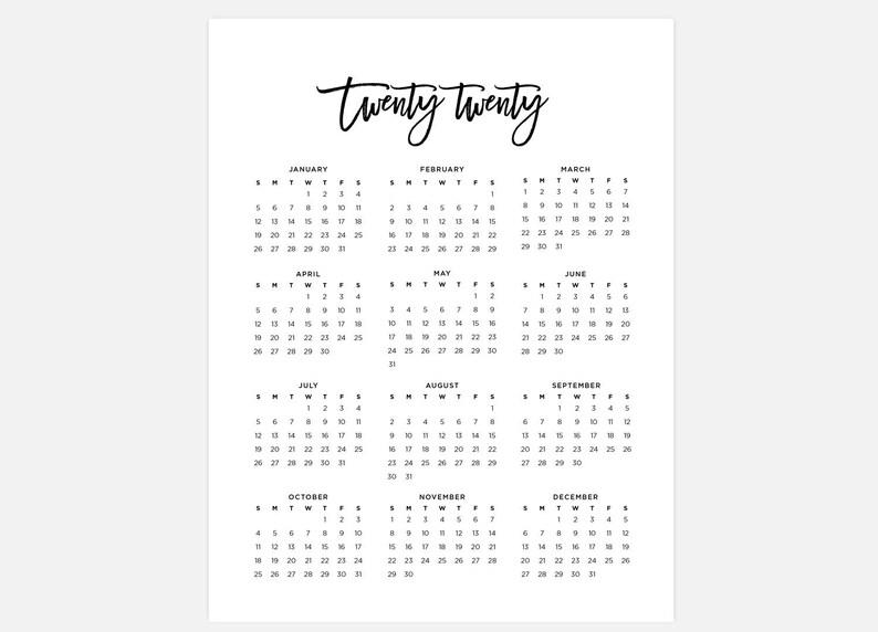 Ataglance Calendar 2020 2020 Calendar Simple Calendar 2020 Year Calendar 2020 | Etsy
