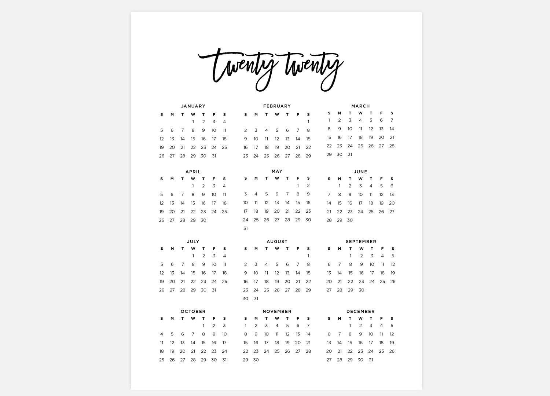 2020 Calendar Simple Calendar 2020 Year Calendar 2020 Etsy