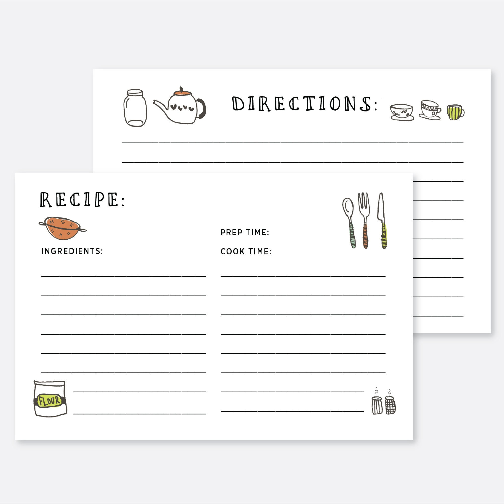 Printable Recipe Card Recipe Card Template 4x6 Kitchen Etsy