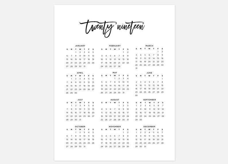 Calendar 2019 Year 2019 Calendar Simple Calendar 2019 Year Calendar 2019 | Etsy