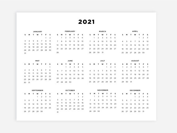 8.5x11 Printable 2021 Calendar 2021 Digital Download | Etsy