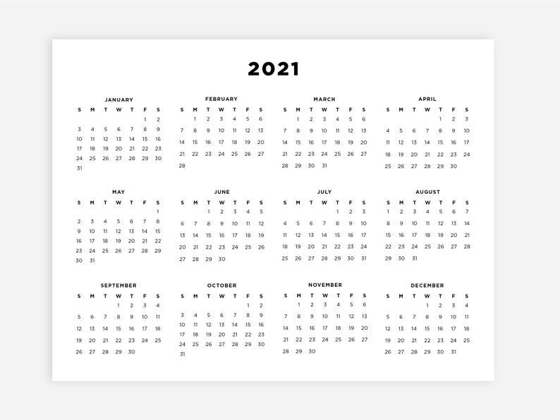8.5x11 Printable 2021 Calendar Letter Calendar 2021 Year ...