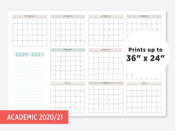 Une Academic Calendar 2021 2020 2021 School Calendar September 2020 June 2021 School | Etsy