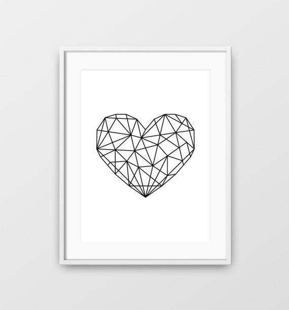 Grafik schwarzes Herz geometrisch Grafik druckbare Herz | Etsy