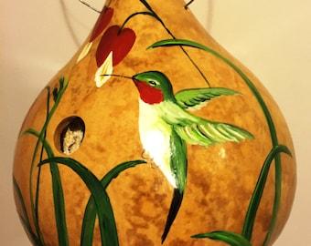 Handpainted Gourd Birdhouse with Hummingbird and Bleeding Hearts
