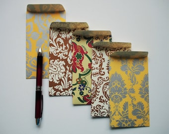 Luxury baroque Eid money envelopes--set of 5 in tall or horizontal design, voucher holders, gift cards, gold, yellow, red, Hari Raya