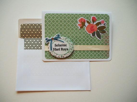 Selamat Hari Raya Modern Greeting Card In Shades Of Green Eid Etsy