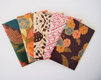 Vintage batik money envelopes, gift card holders or voucher holders for Eid, Christmas, New Year--set of 5 in wide design