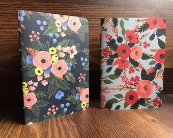 Orange peonies hand-bound notebooks on black and sage green--set of 2 for Christmas, birthdays, for nature lovers