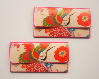 Graceful crane origami paper money envelopes--set of 2, voucher holders, gift card holders, Eid, Christmas, Chinese New Year, wedding, kids