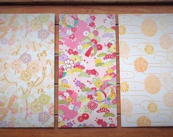 Traditional kimono print money envelopes in jumbo size, voucher holders, gift card holders--set of 5 for Eid, Christmas, Lunar New Year