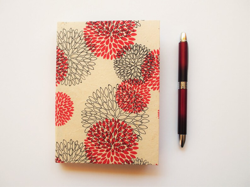 Handbound A6 journals with floral Lokta covers in red blue or image 0