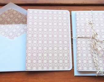 White and purple tile motif card and envelope set for all occasions--Christmas, New Year, birthday, greetings