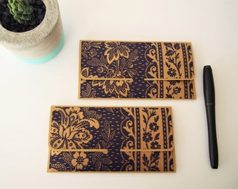 Traditional royal blue and gold songket design money envelopes for Eid, Christmas and weddings--set of 2