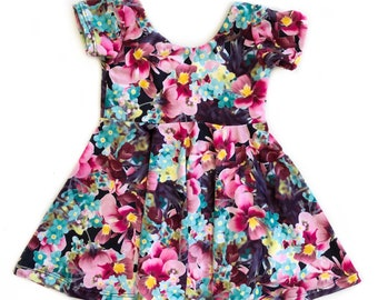 floral dress twirl dress summer dress dress with flowers toddler dress girls dress