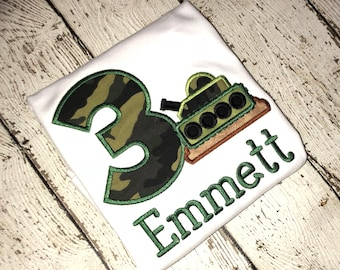7e27e2aed5d Army Tank camo camouflage Birthday applique embroidery shirt military  marines