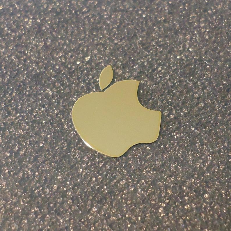 Gold Apple Label / Aufkleber / Sticker / Badge / Logo 13mm x image 1