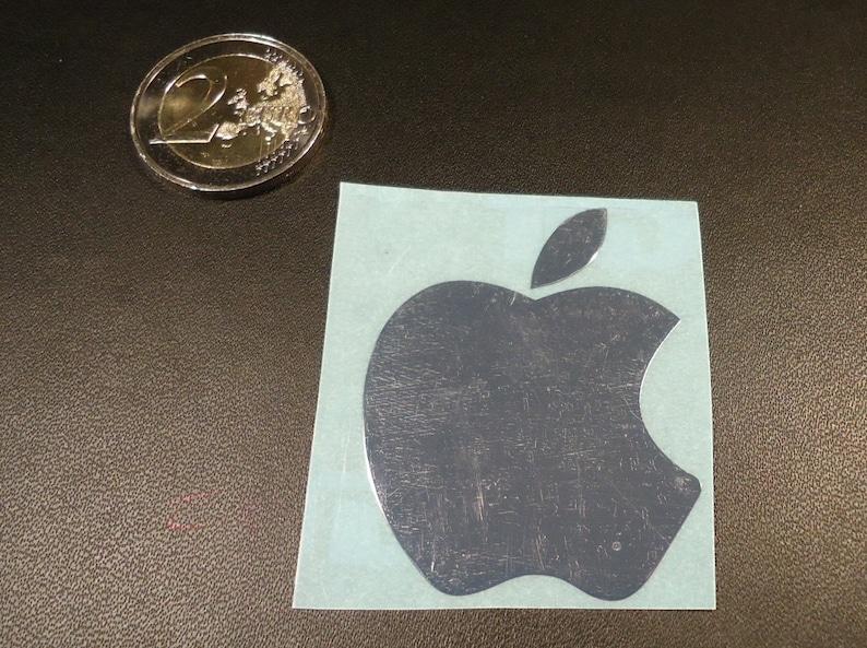 Apple Label Aufkleber Sticker Badge Logo Metalchrome 40mm X 50mm 007d