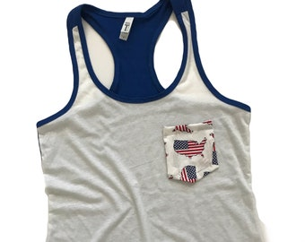 America Pocket Tee, Fourth of July Tshirt, Stars Pocket Tee, Red, White, & Blue Tee