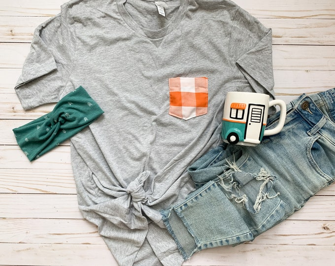 Orange Buffalo Plaid Pocket Tee