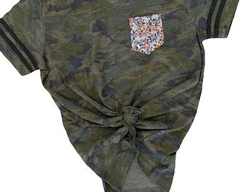 99f89aa6 Camo floral pocket tee / women's pocket tee / women's T-shirt / vintage  camo floral / spring T-shirt