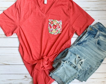 Red Retro Floral Pocket Tee