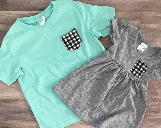 Sibling Shirt Set, Black and White Gingham