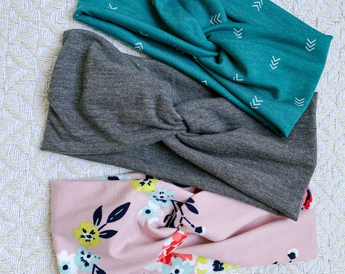 Headband Set, Rose Floral/Teal Arrow/Dark Gray