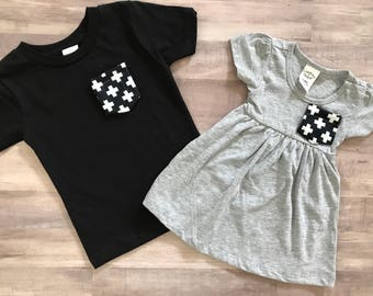 Sibling Shirt Set, Black and White Cross