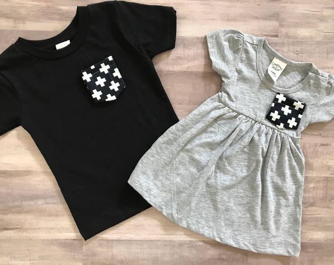 Sibling Shirt Set, Black and White Cross