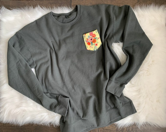 Gray Yellow Floral Sweatshirt