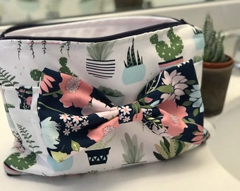 Cosmetic Bag, Striped Floral or Cactus Floral