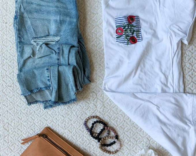 White Denim Embroidered Pocket Tee