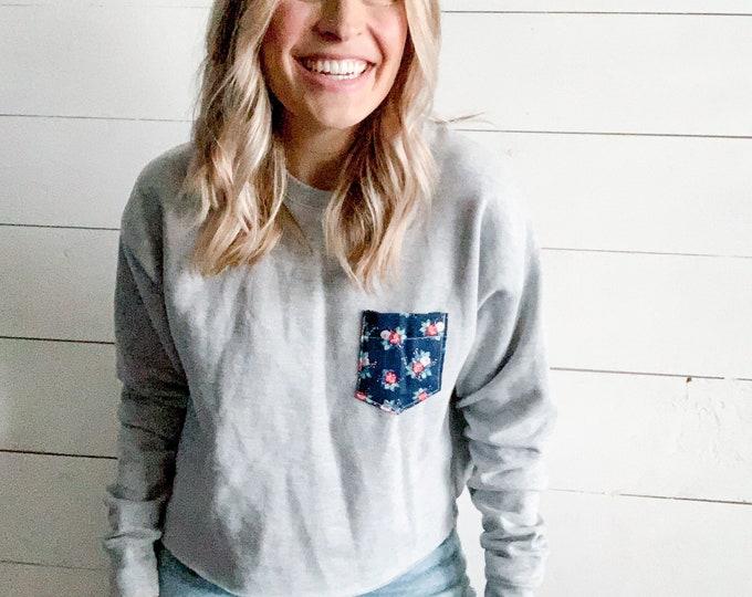 Gray Navy Floral Sweatshirt