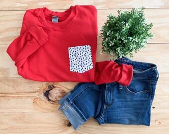 Red Polka Dot Sweatshirt