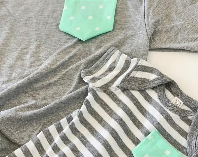 Gray Striped Mint Matching Shirt Set