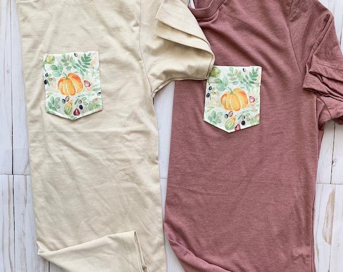Pumpkin Floral Pocket Tee