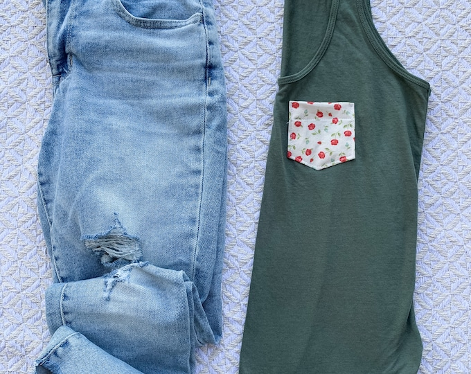 Olive Green Floral Tank Top