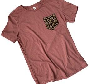 1593b7b13aea Mauve Leopard Pocket tee | Leopard Shirt | Leopard Shirts for Women | Leopard  Print | Leopard Print Shirt WomenShirt | Leopard Print
